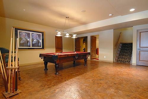 Interior Concrete Floor Finishes - basement pool room